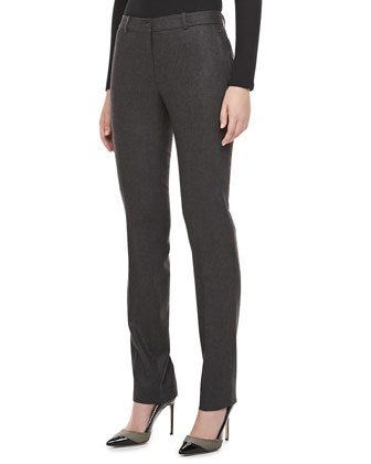 Slim Flannel Trousers, Charcoal