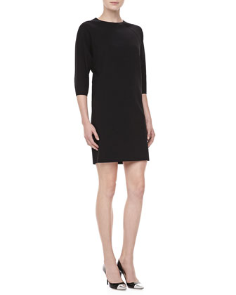 Double-Faced Shift Dress, Black