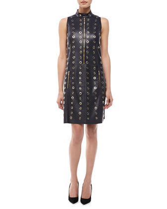 Leather & Grommet Moto Shift Dress