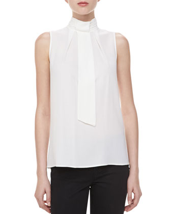 Silk Georgette Self-Tie Top, White