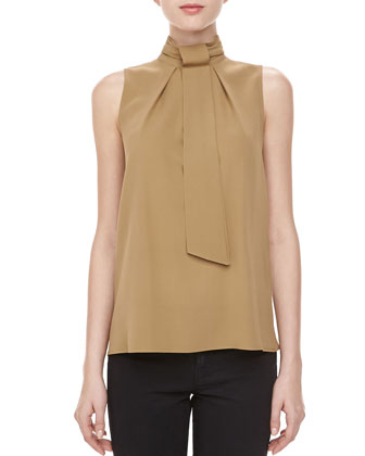 Silk Georgette Self-Tie Top, Fawn