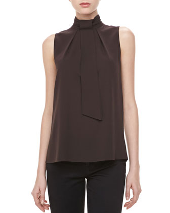 Silk Georgette Self-Tie Top, Chocolate