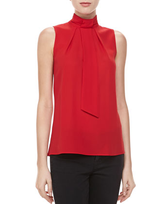 Silk Georgette Self-Tie Top, Crimson