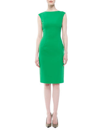 Boucle Cap-Sleeve Sheath Dress