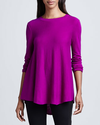 Flared Hi-Low Pullover Top
