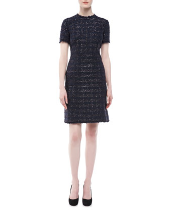 Liquid Tweed Short-Sleeve Dress