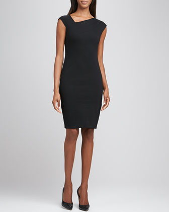 Cap-Sleeve Dress with Asymmetric Pleats
