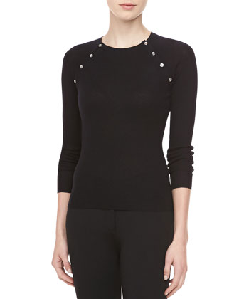 Button-Shoulder Cashmere Top, Black