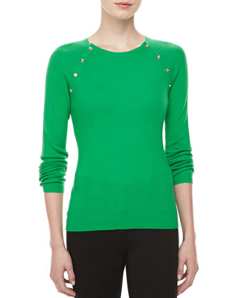 Button-Shoulder Cashmere Top, Palm