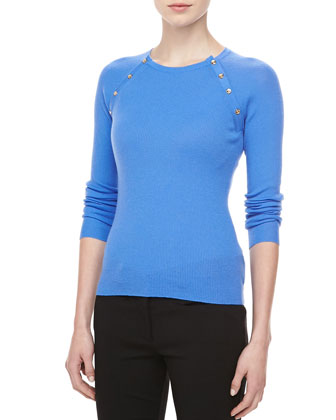 Button-Shoulder Cashmere Top, Sea