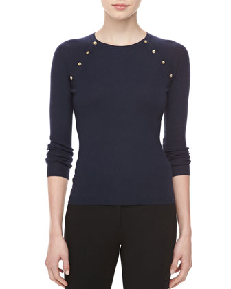 Button-Shoulder Cashmere Top, Midnight