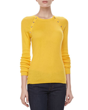 Button-Shoulder Cashmere Top, Sun