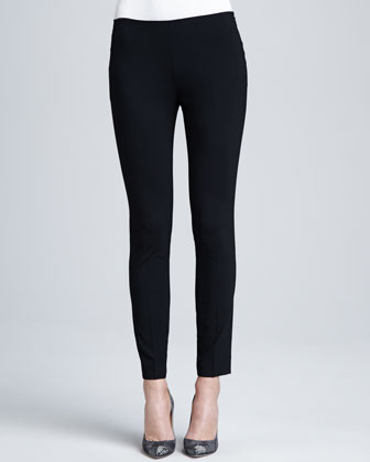 Skinny Ankle Wool-Stretch Pants