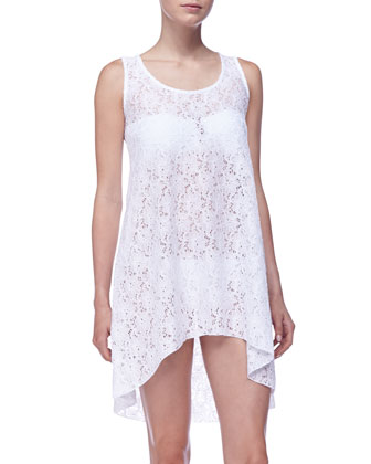 Lace Crochet High-Low Coverup