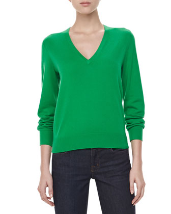 V-Neck Cashmere Top, Palm