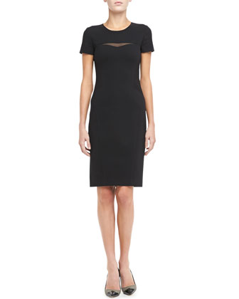 Georgette Yoke-Cutout Sheath Dress