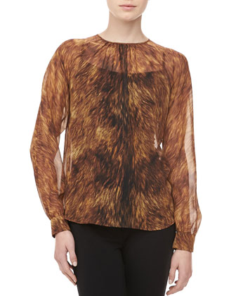 Fox-Print Silk Chiffon Top