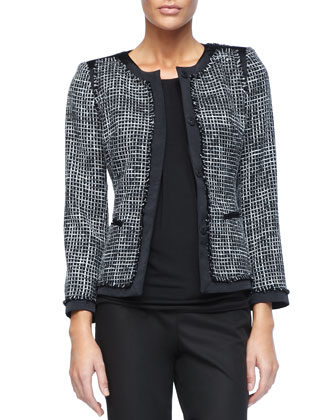 Two-Tone Printed Paulina Jacket, Short-Sleeve Pleated Top & Metro Stretch ...