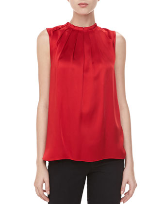 Charmeuse Tuck-Neck Blouse, Crimson