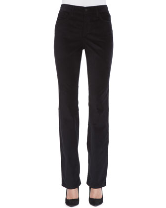 Marilyn Velveteen Straight-Leg Jeans, Black