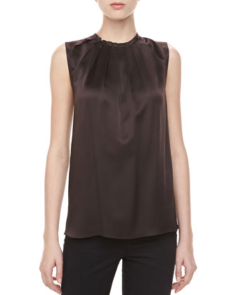 Charmeuse Tuck-Neck Blouse, Chocolate