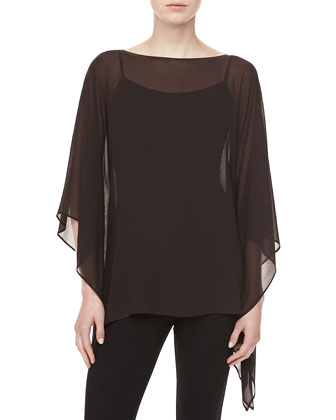 Silk Chiffon Tunic, Chocolate