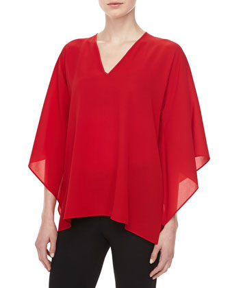 Silk Georgette V-Neck Tunic, Crimson