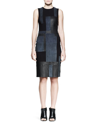 Cold Leather Patchwork Dress