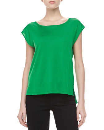 Silk High-Low Top, Palm