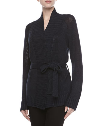 Tie-Waist Knit Cardigan, Midnight
