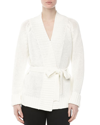 Tie-Waist Knit Cardigan, White