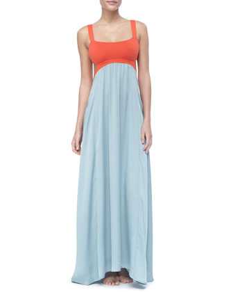 Neverland Colorblock Open-Back Coverup Maxi Dress