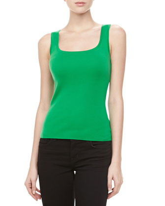 Square-Neck Cashmere Tank, Palm