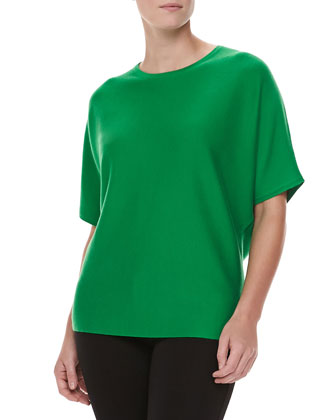 Short-Sleeve Cashmere Top, Palm