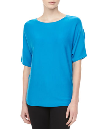 Short-Sleeve Cashmere Top, Pool