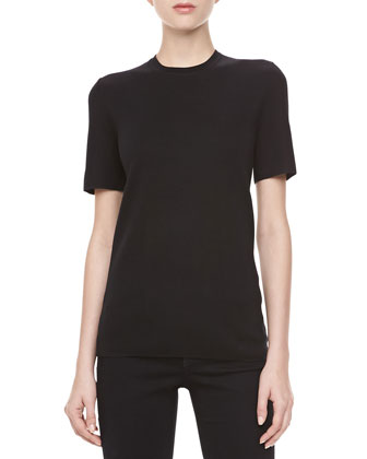 Cashmere Crewneck Short-Sleeve Top, Black