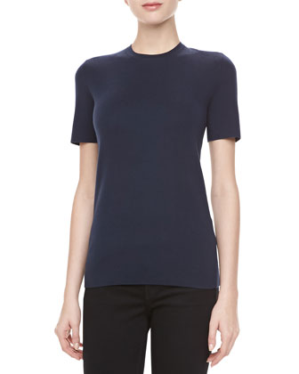 Cashmere Crewneck Short-Sleeve Top, Midnight