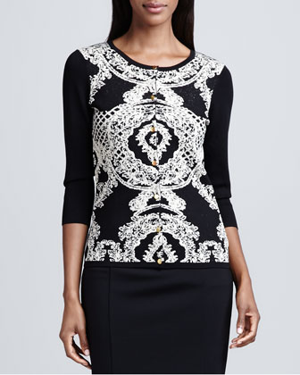 Birdseye Jacquard Crewneck Cardigan & Faux-Leather Banded Pencil Skirt
