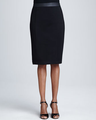 Metallic Beaded-Neck Ombre Top & Faux-Leather Banded Pencil Skirt