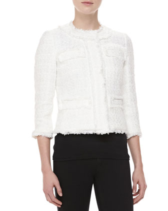 Liquid Tweed Jewel-Neck Jacket, Ivory