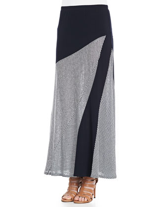 Striped A-Line Maxi Skirt