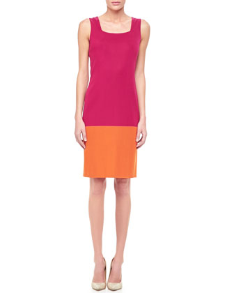 Long Colorblock Jacket & Colorblock Sleeveless Dress, Women's