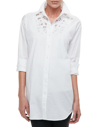 Silk Big Shirt with Lace, Women's