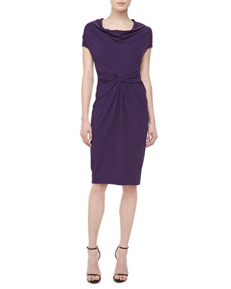 Draped-Neck Matte Jersey Dress, Blackberry