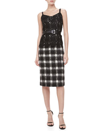 Buffalo Check Pencil Skirt, Black/Ivory