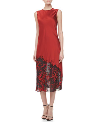 Bias Devore Midi Dress, Crimson