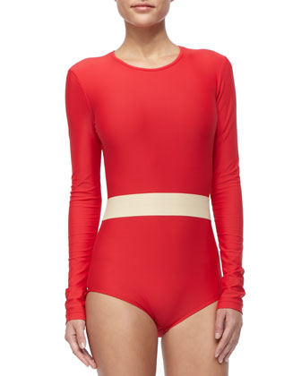 UPF 50 Long-Sleeve Waist-Stripe One-Piece