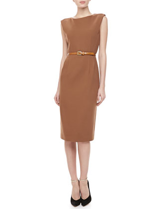 Boucle Crepe Belted Sheath Dress, Saddle