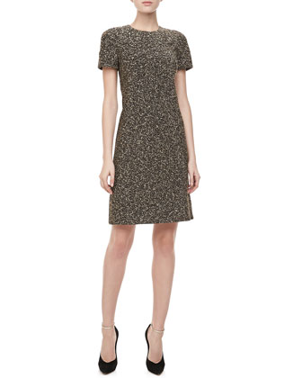Metallic Tweed Short-Sleeve Dress