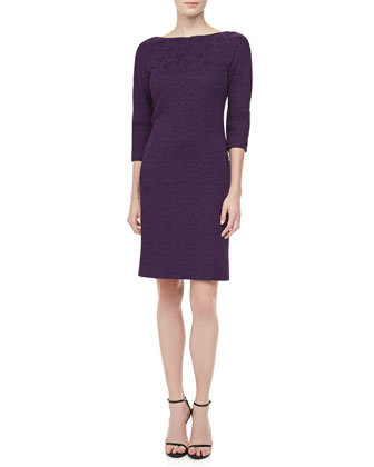 3/4-Sleeve Jacquard Sheath Dress, Blackberry